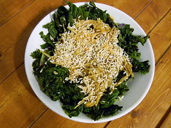 Sauteed Kale with Enoki Mushrooms and Toasted Rice (yummysmellsca) Tags: food cooking mushrooms rice sweet chinese homemade eats oystersauce asianfood edible savoury kale fishsauce stirfry sautee enoki comestible enokimushrooms enolimushrooms