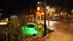 Center of Whistler, Canada (vivicynamon) Tags: bridge canada night whistler symbol olympic
