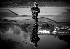 Scooter (MortenTellefsen) Tags: blackandwhite bw reflection water barn mirror child scooter activity vann leker speilbilde svarthvitt sparkesykkel lperhjul