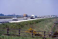 Miners Strike June 1984 Police Convoy M180 (asdofdsa) Tags: transport 1984 trucks pentaxmesuper convoy policeescort minersstrike