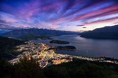 Queenstown from Bob's Peak (Dominic Kamp) Tags: tourism travel evening mountain bobspeak benlomond bluehour violet dawn dusk city highangle top view scenic drone aerial lakewakatipu queenstown