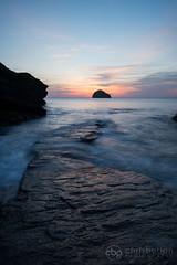 Trebarwith Strand, Cornwall (chrisbutton68) Tags: uk longexposure sunset portrait seascape rock vertical landscape cornwall outdoor gull scenic dreamy channel rugged trebarwithstrand gullrock southwestengland