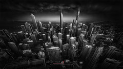 Urban Saga III - Chicago Skyline (Julia-Anna Gospodarou) Tags: blackandwhite chicago skyline architecture architecturalphotography chicagoarchitecture skylinechicago photographydrawing blackandwhitefineartphotography envisionography