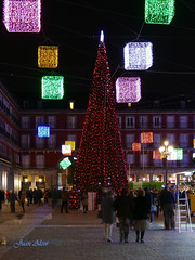 Luces Navideas 2015. Plaza Mayor (Madrid) (Juan Alcor) Tags: madrid plaza arbol navidad luces mayor colores nocturno cubos lucesnavideas
