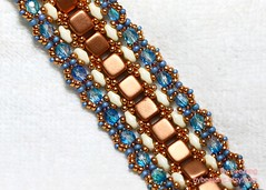 Shera in Coppery Blue (BeeJang - Piratchada) Tags: blue bronze tile aqua czech handmade cream jewelry bracelet copper bangle miyuki muscat beading beadwork beadweaving czechmate duracoat superduo