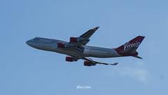 Boeing 747-443 G-VROY - Virgin Atlantic Airways (P3dr0_N3v3s) Tags: jumbojet gvroy takeoff virginatlantic prettywoman boeing 747443 manchesterairport bluesky airliner