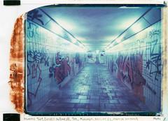 Tunnel Planeggerstrasse (Polaroid T669) (mmartinsson) Tags: mamiyauniversal night modelp tunnel instantfilm 2016 underpass tunnels 669 analoguephotography underground graffitti pedestrian scan polaroidback expired t669 epsonperfectionv700 polaroid polacolor mamiyasekorp 75mm neuried bayern tyskland de