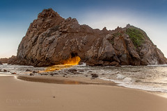 The Rock at Pfeiffer Beach (Chris Murdoch Photography) Tags: beaches bigsur blue boulders brown california californiacoast californialandscapephotography chrismurdoch chrismurdochlandscapephotography chrismurdochphotography colors copyrightchrismurdoch fineart fineartphotography green landscapephotography landscapes nature northerncalifornia orange pfeifferbeach places rocks sand sea sunburst sunset sunsets therockatpfeifferbeach things titlesbigsur usa water yellow