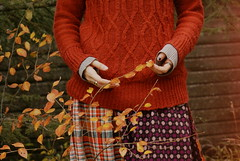 Sweater Season (obsequies) Tags: sweater weather fall autumn harvest october bokeh leaves color colour colourful colorful canada manitoba country life magic thrift fashion style patchwork granny chic plaid tartan grunge gypsy witch orange red halloween seasons cottage shabby whimsical whimsy artsy fartsy thrifty