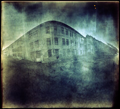 Jewish Hospital (batuda) Tags: pinhole obscura stenope lochkamera analog analogue can cylindrical paper kodak polymax tetenal ultrafin epson4490 color colour toned wide wideangle lowangle building house hospital abandoned architecture kaunas old oldtown sky ground windows lthuania lietuva