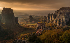 The sun goes down in Meteora (TrippinOn) Tags: meteora greece kalabaka trikala thessaly thessalia autumn winter colours yellow orange red sunset sun sunrise landscape rocks mountains valleys leaves dark europe hellas beautiful dramatic sony a77 hiking climbing trekking cliff clouds monastery church