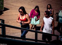 On the beach (Thad Zajdowicz) Tags: people humaninterest stairs woman color santamonica beach california zajdowicz canon eos 5d3 5dmarkiii dslr digital lightroom availablelight ef24105mmf4lisusm breasts cleavage