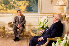Official visit at the Presidential Palace. (ITU Pictures) Tags: محمد الباجي قائد السبسي beji caid essebsi houlin zhao uit itu carthage tunis tunisia