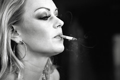 Bella Smoking (Mental Octopus) Tags: woman portrait monochrome bw blackandwhite closeup cigarette smoking person contrast caucasian blonde longhair straighthair beuaty healthissue sexworker stripper safari sextheater hamburg germany reeperbahn redlight redlightdistrict