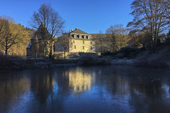 castle by the pond (Blende1.8) Tags: schloss hardenberg neviges velbert velbertneviges 42553 germany castle teich pond reflection spiegelung postcard postkarte winter kalt cold blue blau sky himmel iphone 6s mobile colors colours carstenheyer deutschland historisch historic architecture architektur