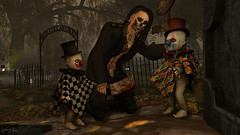 Trick or Treat 101 (Wolfie Vagabond) Tags: halloween trickortreat candy kill dark murder clown clowns scissors cleaver night wolfie vagabond chippiannock cemetery sl second life blood