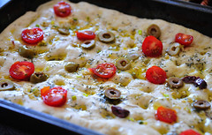 Focaccia with Olives, Garlic and Rosemary. Ready for baking. (annaravliuc) Tags: cooking cooked baking home made photo delicious focaccia bread recipe olive tomato rosemary tray ingredient table