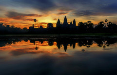 Sunrise at Angkor Wat (Stan Smucker) Tags: sunset sunrise travel temple reflections angkorwat angkorwatarcheologicalpark