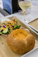 IMGP9269.jpg (PenTex) Tags: tray fastfood wineglass soup highlands breadbowl northcarolina bun roll whitewine freshness bread healthy yellow salad comfortfood cafeteria cream foodanddrink gourmet homemade cooked chowder lunch bowl meal wine stew cheese dinner
