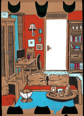 Red and Blue and White (connykunze) Tags: room appartement flat wall furniture furnishings cupboard sketching location drawing sketchbook interior fineliner pen lines cozy marker colorful cardboard berlin home