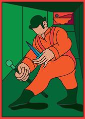 ultra-violence (scott balmer) Tags: exhibition artshow gallery1988 film movie aclockworkorange postcard graphic vector retro korova alex droog vivd color colour