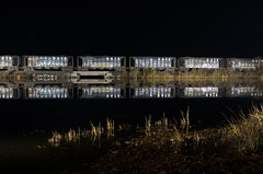Stone (a409will) Tags: river reflection trainsatnight grass train night hopper pw thames
