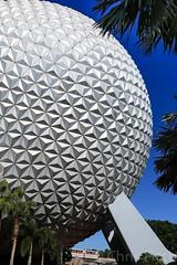 Spaceship Earth A Different View (cjf3) Tags: epcot spaceshipearth monorail palmtrees florida orlando bluesky