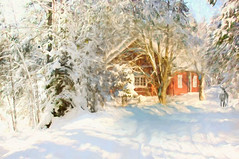 Winter scene (BirgittaSjostedt) Tags: winter snow cold house cottage covered paint outdoor scene serene texture deer forest nature landscape birgittasjstedt ie magicunicornverybest