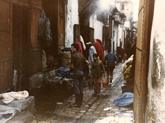 Portugal/Morocco (9) (The Spirit of the World) Tags: fes fez feselbali medina market marketplace alleys streets smoke dirt soot manufactoring craftsmen ancient old morocco roadtrip mysterious mood atmospheric analogphotography film print brick paths 1986