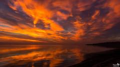 Sky on fire (BraCom (Bram)) Tags: bracom cloud wolk sunset zonsondergang reflection spiegeling beach strand evening avond herkingen grevelingen goereeoverflakkee zuidholland nederland southholland netherlands holland canoneos5dmkiii widescreen canon 169 canonef24105mm bramvanbroekhoven nl