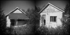 Neighbors (LowerDarnley) Tags: holga pei millvale princeedwardisland cottages abandoned rural consecutiveframes diptych incamera atlanticcanada maritimes