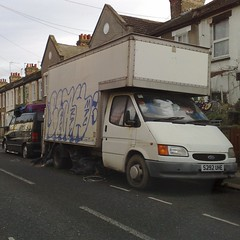 (uk_senator) Tags: dumped hoarder 1998 ford transit mk3 luton mercedes sprinter graffiti