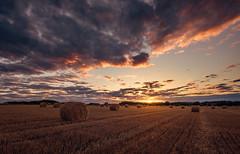 Harvest Sunset (www.SuperStoked.me) Tags: sunset england clouds harvest straw tyne wear northumberland obelisk fields sunburst bales starburst haydon landscapephotography oldhartley seatonsluice seatondelavalhall hartleywestfarm