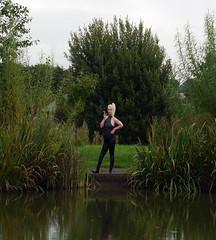 Bear Park County Durham (team stalker) Tags: woman lake sexy stockings panties fishing shiny boots outdoor blonde fishnets carp satin milf pvc sexylegs carpie