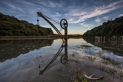 We Have An Anchor... (yadrad) Tags: sunset river evening cornwall flood crane anchor nationaltrust hightide cotehele speight rivertamar cotehelequay rnbtamar