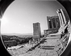 Propylaea (hiphopmilk) Tags: bw white black film analog 35mm lomo lomography europe kodak citadel athens fisheye greece gateway analogue acropolis propylaia propylea propylaea 135film jaredyeh hiphopmilk