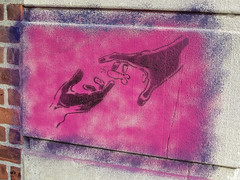Hands, North Adams, MA (Robby Virus) Tags: street art penis graffiti hands stencil reaching massachusetts balls reach genitals northadams genitalia