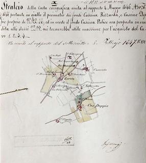 """""""Stralcio della carta corografica"""" relativa al territorio dei poderi Rizzarda e Rossa, Cassine Doppie, Pulice, 1846."""