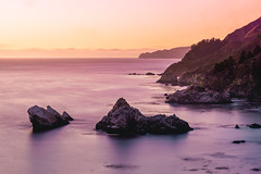 Big Sur: XVI (kevintlam) Tags: sunset bw beach rock bigsur nd mcwaycove pfeifferstatepark 1000x neutraldensity