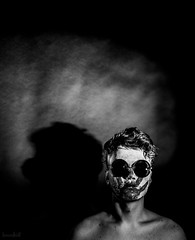 Let the Pressure (boundlost) Tags: red portrait black photography glasses photo paint hand darkness sony go conceptual facepaint pressure heavy weight a7 sonya7 handpring