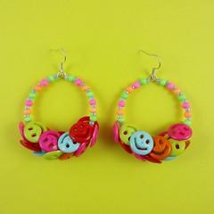 Smiley Face button Hoop Earrings (Rainbow Mermaid) Tags: cute beads handmade buttons kitsch jewelry jewellery plastic earrings colourful hoops rainbowmermaid