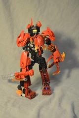 V.I.N.C.E. -- Back (ohlookitsanartist) Tags: red orange lego vince armor sword bionicle moc