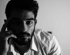 Self #1 (alessiocantara) Tags: portrait self man white shirt portraits black blackandwhite light indoor