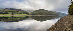 Autumn morning at Ladybower (Keartona) Tags: panorama hills peakdistrict ladybower reservoir reflections symmetry morning mist misty beautiful still calm landscape england derbyshire shore water sky derwent valley autumn october