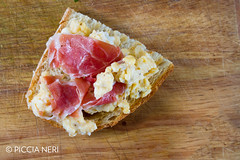 Scrambled eggs with ham (PicciaNeri) Tags: bread breakfast butter copyspace cuisine curedmeat delicious eat egg energy fatty food fresh fried ham hot meal meat morning nutrition nutritious pepper pork prosciutto protein savoury scrambled seasoning toast white woodenbackground yolk