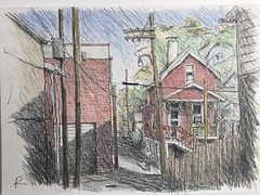 The Hill, St Louis on the other side of Interstate 44 (Peter Rush - drawings) Tags: drawing sketch peterrush missouri stlouis thehill