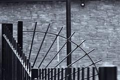 B&W cobwebs (AngharadW) Tags: cardiff caerdydd cymru wales outdoo contrast lines hydroelectric radyr cobwebs railings bw