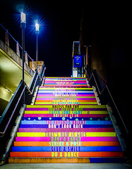 Happy Stairs - Have a happy weekend my friends (edelweisskoenig) Tags: eu europe europa germany deutschland stuttgart stairs treppe colorful colourful farbig bunt night nacht lamp lampe outdoor dark bright fujifilm fujinon xpro1 23mm 23mmf2 travel travelphotography reise reisen reisefotografie fernweh