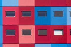 Red, pink and blue building (on Explore) (Jan van der Wolf) Tags: map161164ve building gebouw windows ramen architecture architectuur geometric geometrisch geometry lines lijnen