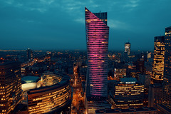 Purple City (Peter Owoc) Tags: sky scrapper hightower tower city warsaw evning